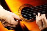 Fototapety Acoustic guitar playing details