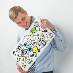 Business man holding a sign with online services symbols
