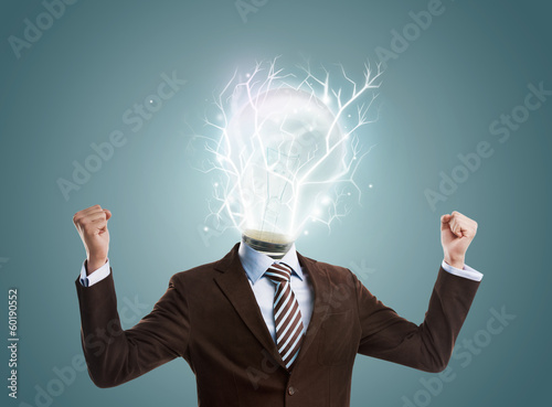 Idea concept, lamp head businessman full of energy to create and