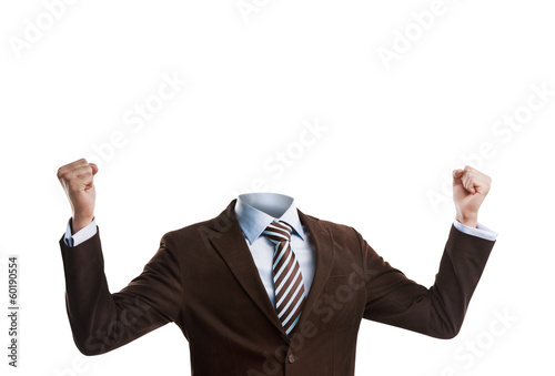 Business man without a head isolated on white background