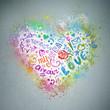 Creative valentine grunge background. Graffiti heart splatter on