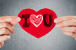 I love you! Valentine's day background. Closeup of female hands