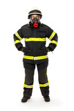 Firefighter with mask and  protective suit
