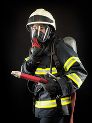 Firefighter in protective gear