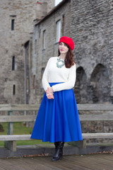young beautiful woman in medieval town
