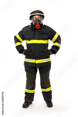 Firefighter with mask and  protective suit - 60190776