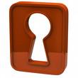 Orange key hole icon