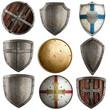 Leinwanddruck Bild - shields collection isolated on white