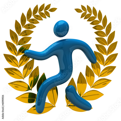 Golden laurel wreath and blue man