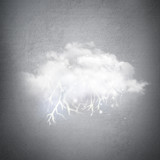 Creative technological background. Cloud with lightning Inside a