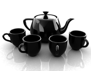 black teapot and cups