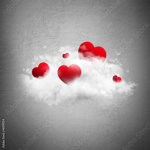 Red hearts in cloud. Valentine's day background