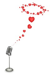 Lovely Hearts with Retro Microphone on Brown Background