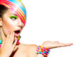 Leinwanddruck Bild - Beauty Woman with Colorful Makeup, Hair, Nails and Accessories