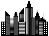 Modern City Skyscrapers Buildings Silhouettes