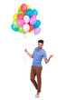 man holding a bunch of balloons is inviting to party