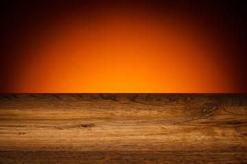 Wood grain texture - oak board on orange background