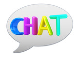 "messenger window icon. Colorful 3d text ""chat"""