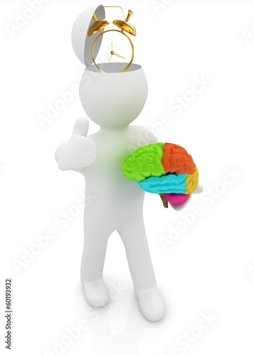 3d people - man with half head, brain and trumb up. Time concept