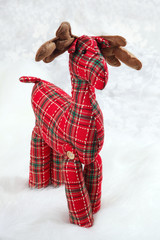 checkered red toy moose
