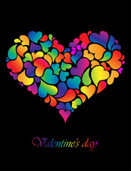 colorful  heart on wedding or valentine' day