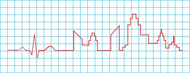Electrocardiogram Indicate City Life Concept