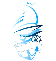boat and anchor, marine characters to vector