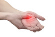 Acute pain in a man palm. Female holding hand to spot of palm-ac