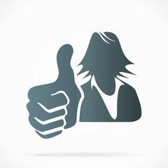 Female silhouette avatar with thumb up