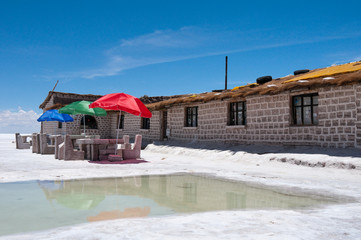 Hotel built of salt blocks, Uyuni (Bolivia)
