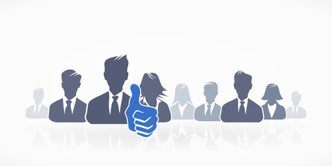 Group of people silhouette avatar with thumb up