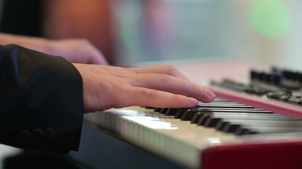 The musician plays keyboards