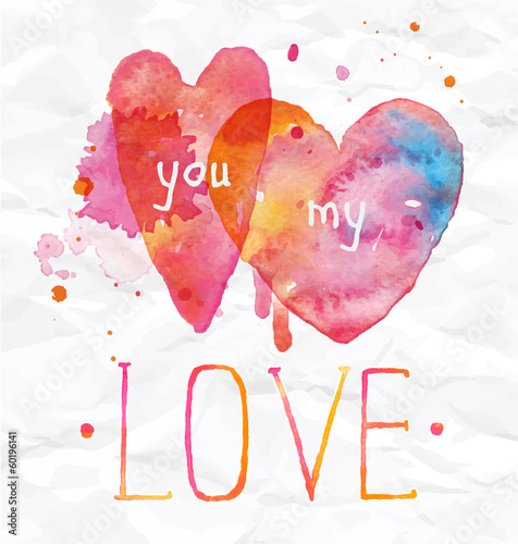 Watercolor Valentines Day Hearts lettering You my love