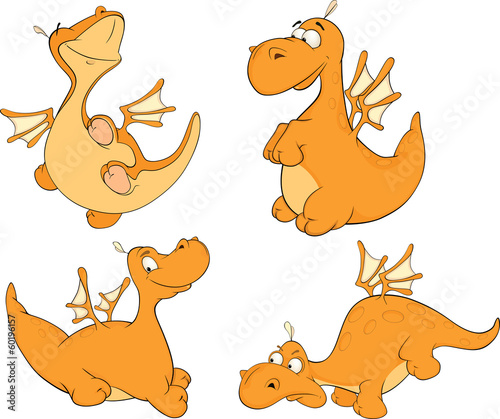 Set of dragons cartoon