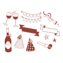 Party Objects Outline in Doodle Style
