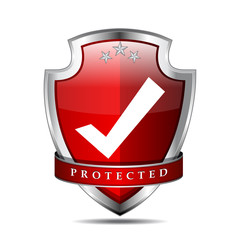 Protected Tick Mark Red Shield Vector Icon