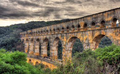 HDR image of Pont du Gard, Roman aqueduct listed in UNESCO