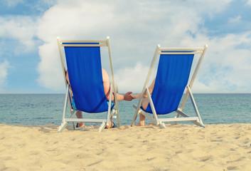 Couple enjoying summer vacation on the beach