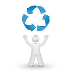 3d person looking up at the recycling symbol