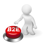 3d man with b2e business to employee button poster