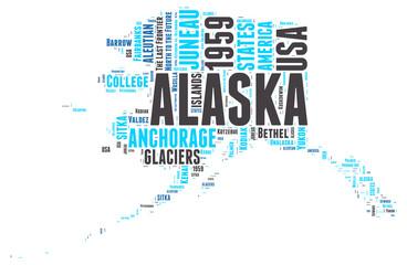 Alaska USA state map tag cloud