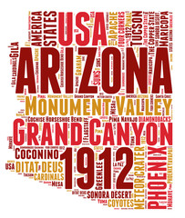 Arizona USA state map tag cloud