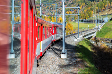 Red train from Tirano to the Switzerland