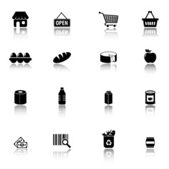 Supermarket and groceries icons