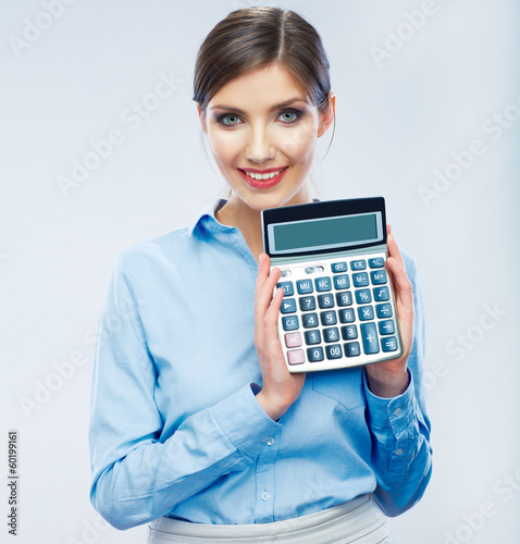Business woman hold count machine.