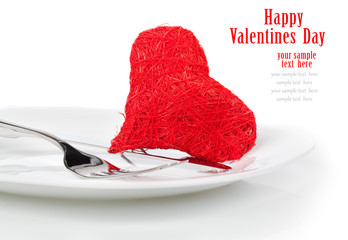 Red heart with fork. Concept image for Valentine dinner/love foo