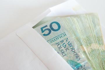Polish zloty on a white background