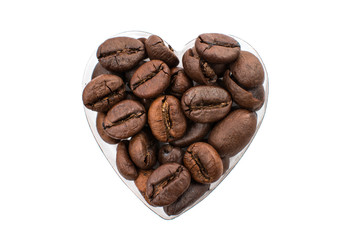 heart from coffee beans isolated