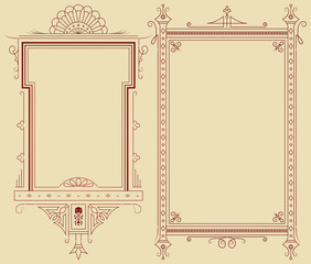 Template frame for envelope, invitations or greeting cards