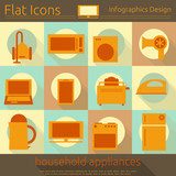 Flat Home Appliances Icons Set